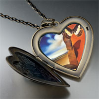 Necklace & Pendants - landscape butterflies painting large heart locket pendant necklace Image.