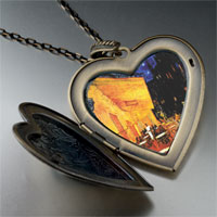 Necklace & Pendants - cafe terrace at night painting large heart locket pendant necklace Image.
