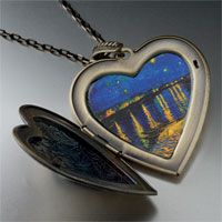 Necklace & Pendants - starry night rhone painting large heart locket pendant necklace Image.