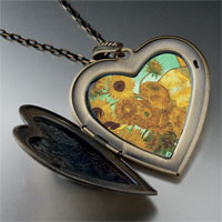 Necklace & Pendants - vase 12  sunflowers painting large heart locket pendant necklace Image.