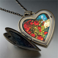 Necklace & Pendants - poppies painting large heart locket pendant necklace Image.