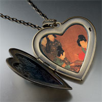 Necklace & Pendants - ladies playing double sixes painting large heart locket pendant necklace Image.