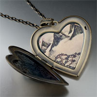 Necklace & Pendants - mountains pines spring painting large heart locket pendant necklace Image.