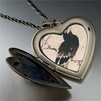 Necklace & Pendants - bird painting large heart locket pendant necklace Image.