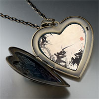 Necklace & Pendants - bamboo painting large heart locket pendant necklace Image.