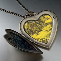 Necklace & Pendants - don yuan mountain hall painting large heart locket pendant necklace Image.
