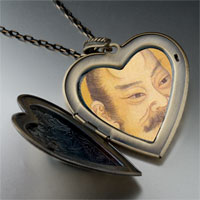 Necklace & Pendants - su shi song dynasty painting large heart locket pendant necklace Image.