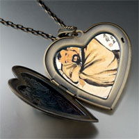 Necklace & Pendants - steeling wine vat painting large heart locket pendant necklace Image.