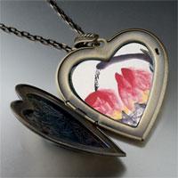 Necklace & Pendants - peaches painting large heart locket pendant necklace Image.