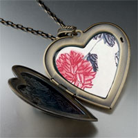 Necklace & Pendants - chrysanthemum painting large heart locket pendant necklace Image.