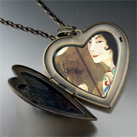 Necklace & Pendants - woman in screen painting large heart locket pendant necklace Image.