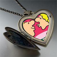 Necklace & Pendants - couple kissing love photo large heart locket pendant necklace Image.