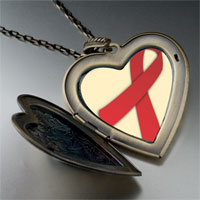 Necklace & Pendants - red ribbon awareness large heart locket pendant necklace Image.