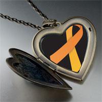 Necklace & Pendants - orange ribbon awareness large heart locket pendant necklace Image.