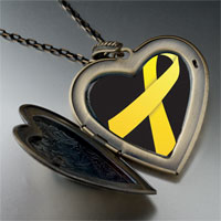 Necklace & Pendants - yellow ribbon awareness large heart locket pendant necklace Image.