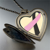 Necklace & Pendants - black pink ribbon awareness large heart locket pendant necklace Image.