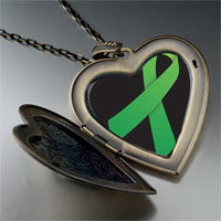 Necklace & Pendants - green ribbon awareness large heart locket pendant necklace Image.