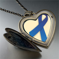 Necklace & Pendants - blue ribbon awareness large heart locket pendant necklace Image.