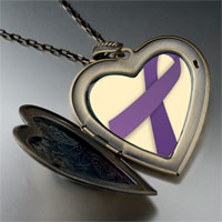Necklace & Pendants - purple ribbon awareness large heart locket pendant necklace Image.