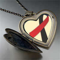 Necklace & Pendants - black red ribbon awareness large heart locket pendant necklace Image.