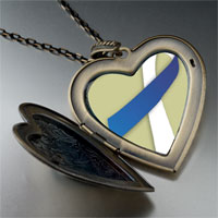 Necklace & Pendants - blue white ribbon awareness large heart locket pendant necklace Image.