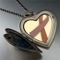 Necklace & Pendants - brown ribbon awareness large heart locket pendant necklace Image.