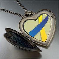 Necklace & Pendants - blue yellow ribbon awareness large heart locket pendant necklace Image.
