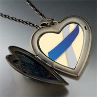 Necklace & Pendants - blue silver ribbon awareness large heart locket pendant necklace Image.