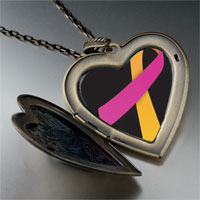 Necklace & Pendants - orchid orange ribbon awareness large heart locket pendant necklace Image.