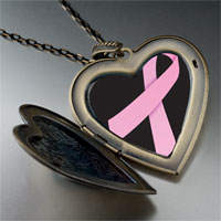 Necklace & Pendants - pink ribbon awareness large heart locket pendant necklace Image.