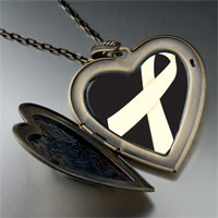 Necklace & Pendants - pearl white ribbon awareness large heart locket pendant necklace Image.