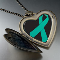 Necklace & Pendants - teal ribbon awareness large heart locket pendant necklace Image.