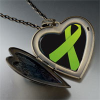 Necklace & Pendants - lime green ribbon awareness large heart locket pendant necklace Image.