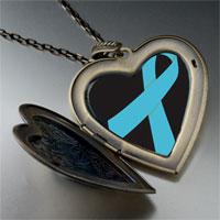 Necklace & Pendants - light blue ribbon awareness large heart locket pendant necklace Image.