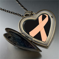 Necklace & Pendants - peach ribbon awareness large heart locket pendant necklace Image.