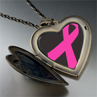 Necklace & Pendants - orchid ribbon awareness large heart locket pendant necklace Image.