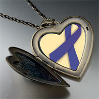 Necklace & Pendants - periwinkle ribbon awareness large heart locket pendant necklace Image.