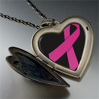 Necklace & Pendants - hot pink ribbon awareness large heart locket pendant necklace Image.