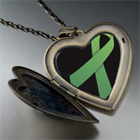 Necklace & Pendants - light green ribbon awareness large heart locket pendant necklace Image.