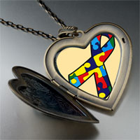 Necklace & Pendants - jigsaw puzzle ribbon awareness large heart locket pendant necklace Image.