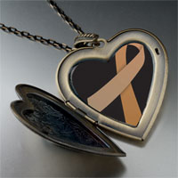 Necklace & Pendants - copper ribbon awareness large heart locket pendant necklace Image.