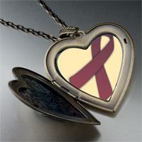 Necklace & Pendants - cranberry ribbon awareness large heart locket pendant necklace Image.