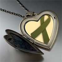 Necklace & Pendants - olive green ribbon awareness large heart locket pendant necklace Image.