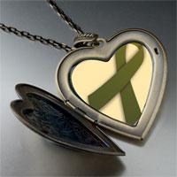 Necklace & Pendants - olive green ribbon awareness large heart locket pendant necklace Image.