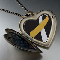 Necklace & Pendants - silver ribbon awareness large heart locket pendant necklace Image.