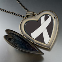 Necklace & Pendants - gray ribbon awareness large heart locket pendant necklace Image.