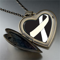 Necklace & Pendants - white ribbon awareness black large heart locket pendant necklace Image.