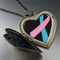 Necklace & Pendants - pink blue ribbon awareness large heart locket pendant necklace Image.