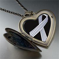 Necklace & Pendants - pinstripes ribbon awareness large heart locket pendant necklace Image.