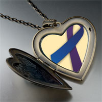 Necklace & Pendants - purple blue ribbon awareness large heart locket pendant necklace Image.